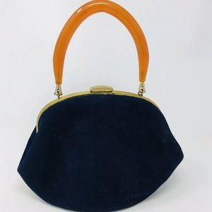 Morris Moskwovitz MM Vintage Navy Velvet Purse